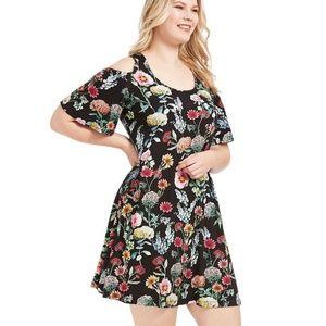 KAREN KANE Floral Botanical Cold Shoulder Dress